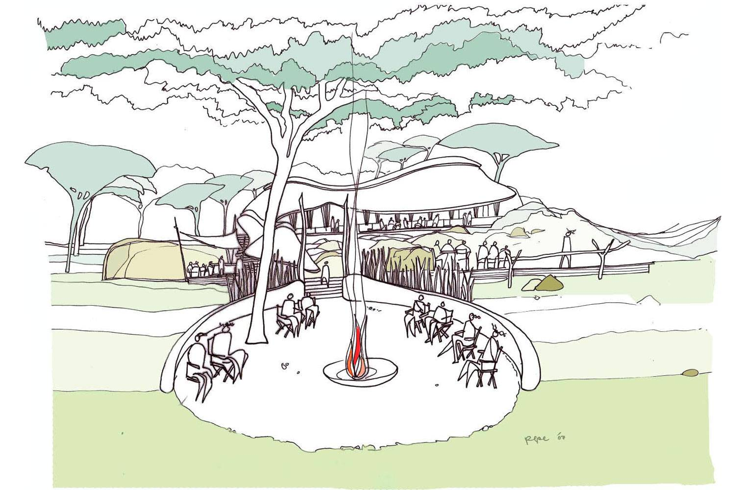 Serengeti Tented Camp - Concept Sketch of Boma Area
