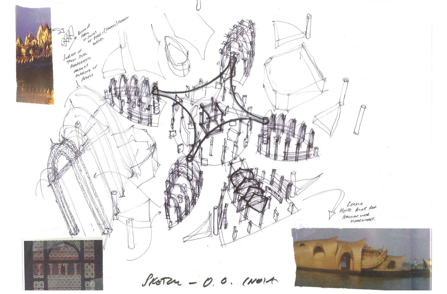 Out Of India - Ceiling Concept Sketches, L4 Store
